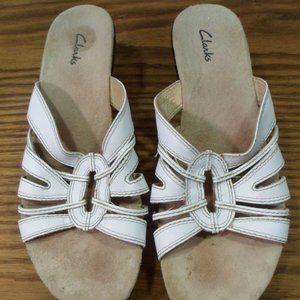 Clarks Women's Slip On Wedge White Sandals 8M